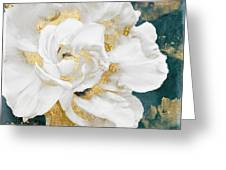 Petals Impasto White And Gold Greeting Card