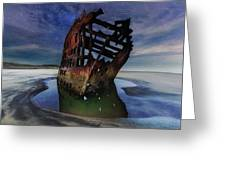 Peter Iredale Shipwreck Under Starry Night Sky Greeting Card