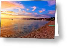 Petrcane Beach Golden Sunset View Greeting Card