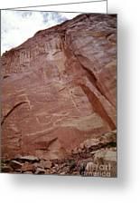 Petroglyphs On A Sheer Rock Wall Greeting Card