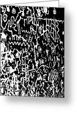 Petroglyphs Vertical Black And White Greeting Card