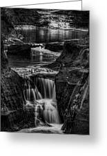 Pewits Nest Waterfalls In Black And White Greeting Card