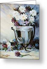 Pewter Coffee Pot And Daisies Greeting Card