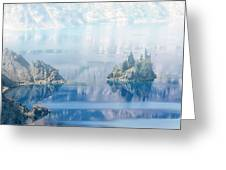 Phantom Ship Island In Mist At Crater Lake Greeting Card
