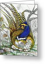 Pheasant Blue Greeting Card