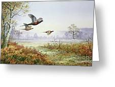 Pheasants In Flight  Greeting Card