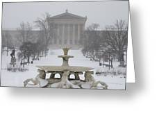 Philadelphia Art Museum From The West In Winter Greeting Card