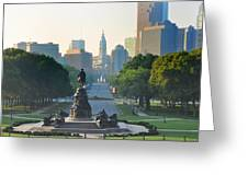Philadelphia Benjamin Franklin Parkway Greeting Card by Bill Cannon