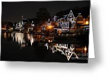 Philadelphia Boathouse Row At Night Greeting Card