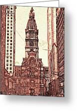 Philadelphia City Hall - Pencil Greeting Card