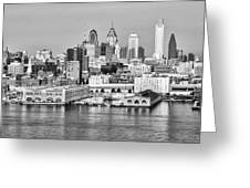 Philadelphia From The Waterfront In Black And White Greeting Card
