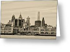 Philadelphia From The Waterfront In Sepia Greeting Card