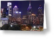 Philadelphia Full Moon Panorama Greeting Card