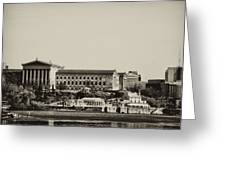 Philadelphia Museum Of Art And The Fairmount Waterworks From West River Drive In Black And White Greeting Card