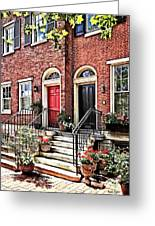 Philadelphia Pa - Townhouse With Red Geraniums Greeting Card