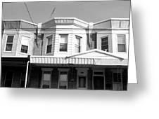Philadelphia Row Houses - Black And White Greeting Card