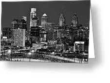 Philadelphia Skyline At Night Black And White Bw  Greeting Card