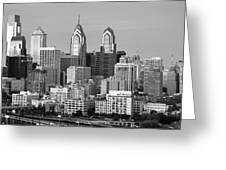 Philadelphia Skyline Black And White Bw Wide Pano Greeting Card