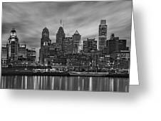 Philadelphia Skyline Bw Greeting Card