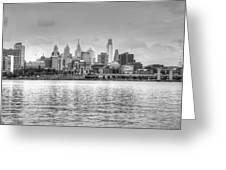 Philadelphia Skyline In Black And White Greeting Card