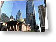 Philadelphia Street Level - Skyscrapers And Classical Building View Greeting Card