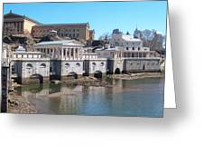 Philadelphia Waterworks And Art Museum Panorama Greeting Card
