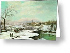 Philadelphia Winter Landscape Ca. 1830 - 1845 By Thomas Birch Greeting Card