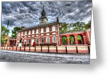 Philadelphia's Independence Hall Under The Clouds Greeting Card