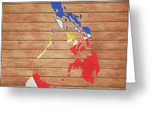 Philippines Rustic Map On Wood Greeting Card