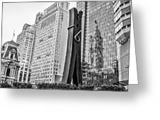 Philly Clothepin And City Hall Reflection In Black And White Greeting Card