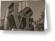 Philly Esque  - Love Statue In Sepia Greeting Card