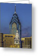 Philly Skyline-old And New Greeting Card