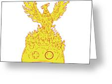 Phoenix Rising Fiery Flames Over Game Controller Drawing Greeting Card