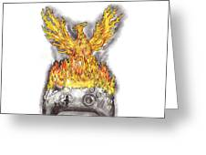 Phoenix Rising Over Burning Game Controller Tattoo Greeting Card