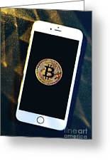 Phone With A Bitcoin Laying On Top Of It. Greeting Card