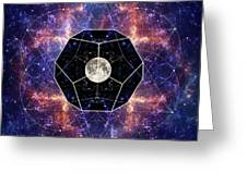 Photo Of The Moon And Sacred Geometry Greeting Card