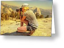 Photographer On Sentinel Dome Greeting Card