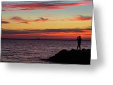 Photographing The Sunset Greeting Card