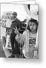 Photography Homage Alfred Eisenstadt Hispanic Girl V For Victory Sign Anti Gulf War Rally Tucson Az Greeting Card