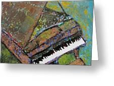Piano Aqua Wall Greeting Card