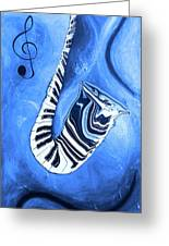 Piano Keys In A Saxophone Blue - Music In Motion Greeting Card