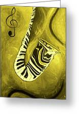 Piano Keys In A  Saxophone Golden - Music In Motion Greeting Card