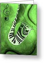 Piano Keys In A  Saxophone Green Music In Motion Greeting Card