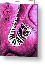 Piano Keys In A Saxophone Hot Pink - Music In Motion Greeting Card