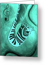 Piano Keys In A  Saxophone Teal Music In Motion Greeting Card