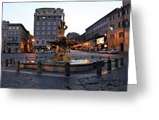 Piazza At Night Greeting Card