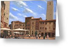 Piazza Della Cisterna San Gimignano Tuscany Greeting Card