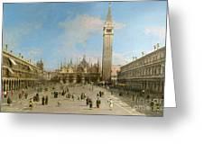 Piazza San Marco Looking Towards The Basilica Di San Marco  Greeting Card