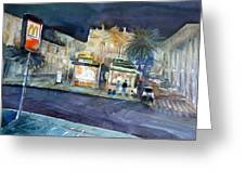 piazza Stesicoro at night Greeting Card