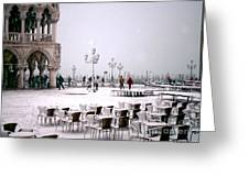Piazzetta San Marco In Venice In The Snow Greeting Card